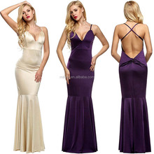 Women's Elegant Sexy Strap Deep V Neck Backless Bodycon Long Maxi Dress for Party Evening