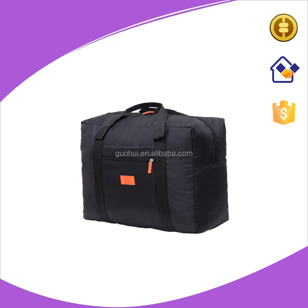 Polyester Folding travelling tote bag,Portable storage luggage bags with zipper pocket