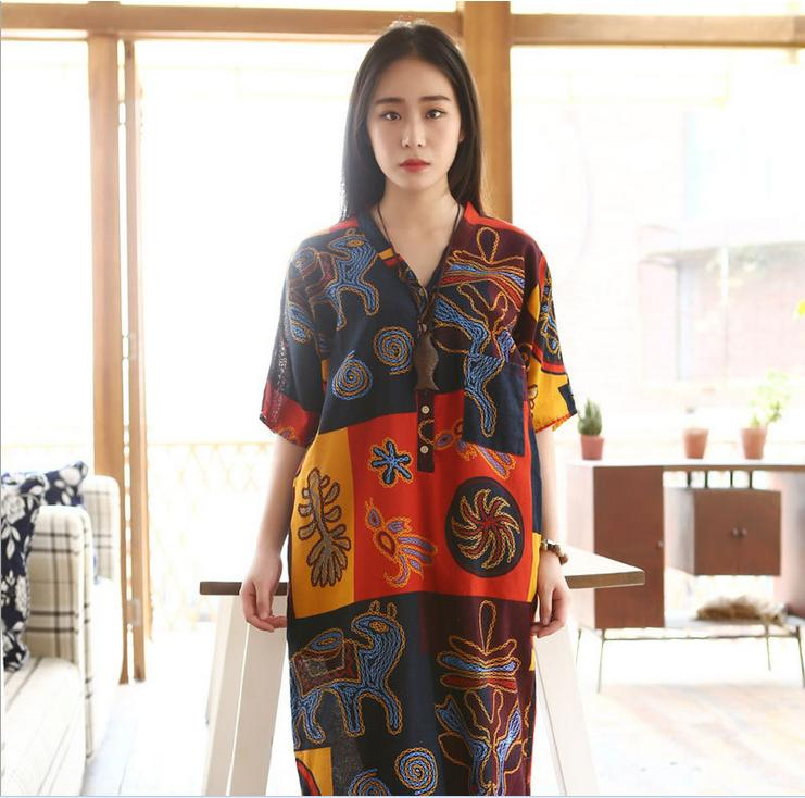 Cotton Linen Vintage Literary Women Maxi Dress 2015 Summer Style Short Sleeve V Neck Loose Robe Gown Plus Size Print Dress