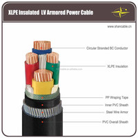 0.6/1kv cu/xlpe/swa/pvc power cable 4 core 240mm xlpe armoured cable