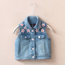 WV02 AUTUMN LATEST STYLE GIRLS DENIM JEANS VEST WITH FLOWER