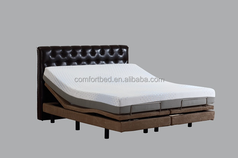 New Arrival Electric Adjustable Massage Bed with Memory Foam Mattress King