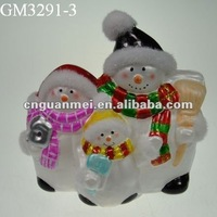 christmas decoration glass snowman family with led light
