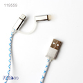 2016 Metal head Glow in Dark 1m 8 pin 2 in 1 Luminous Micro USB Cable for iphone