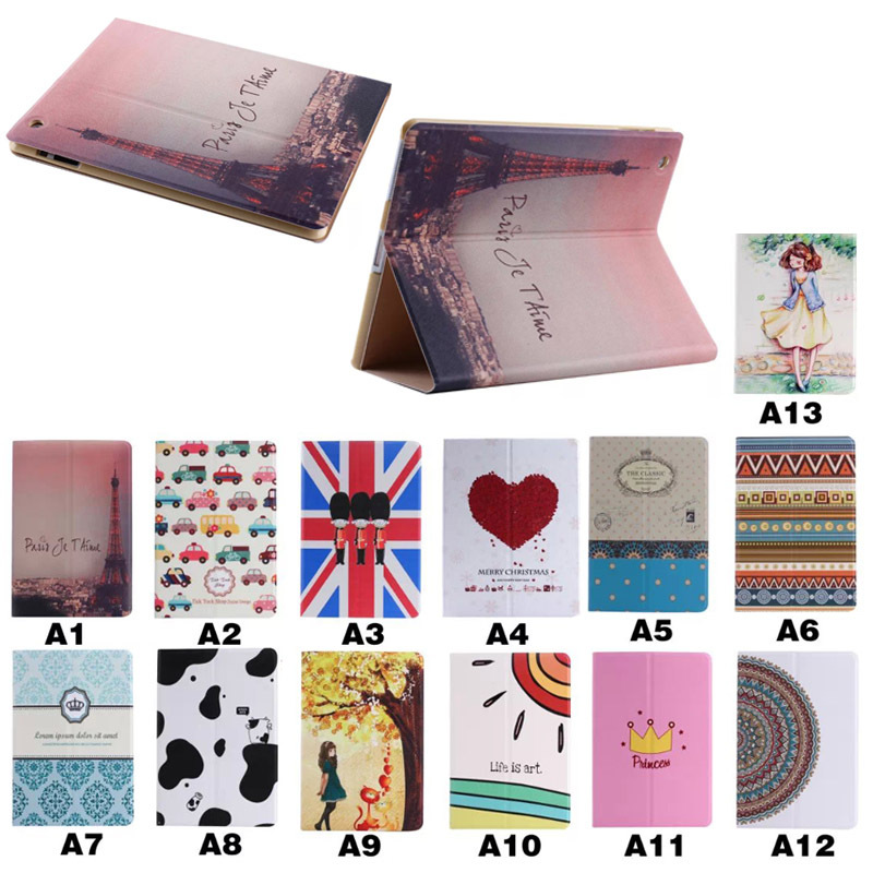 Multi design cute leather case for iPad 2/3/4 with stand