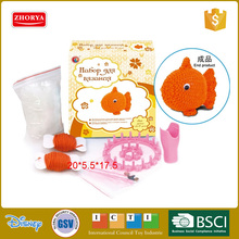 Zhorya new mini cute orange fish easy knit set for kids playing children educational toys