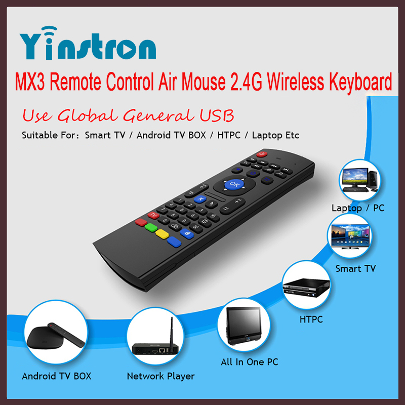 2.4GHz MX3 Air Fly Mouse Wireless Keyboard Motion Sensor Remote Control for samsung smart tv