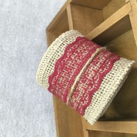 Red Burlap Ribbon With Lace For Wedding/ Marriage/ Home Decoration