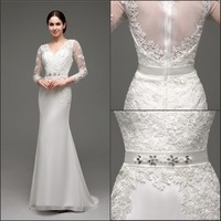 2015 Christmas Real Sample V Neck Mermaid Long Sleeve Lace Wedding Dresses, Big Size Wedding Dresses