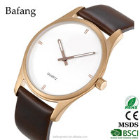 wholesale china oem stainless steel newest watch with genuine leather strap