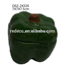 Mini decorative ceramic table green bell pepper fruit shape nut jar with lid