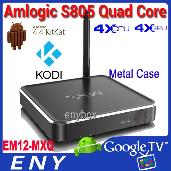 G Box Midnight MX2 Updated MXQ Metal Housing Quad core Amlogic S805 Android 4.4 tv box XBMC Loaded Android IPTV Streaming Box