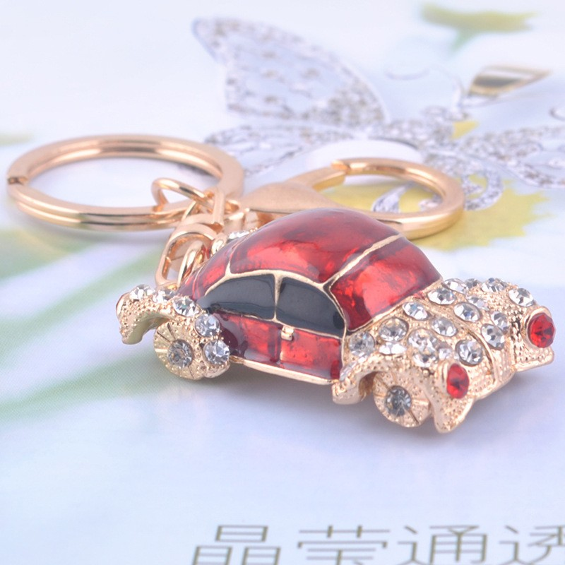 Wholesale Hot Selling Promotional Colorful Rhinestone 3D Car Design Keychain
