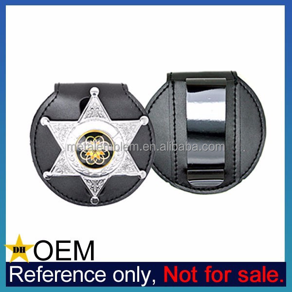 Wholesale Custom Shield Leather ID Name Belt Clip Badge Holder