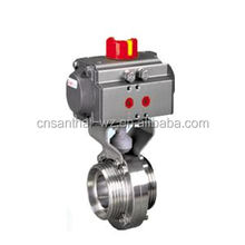 Sanitary pneumatic welded butterfly valve with C-TOP positioner