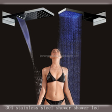 Rectangular in-wall 230*554*30mm 3 function temperature control led rainfall shower head waterfall shower head