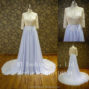 Nude and purple combine sexy wedding dress bridal gown evening dress
