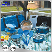 33pcs Colorful camping picnic cookware,pans and pots, kitchenware tools, combo set