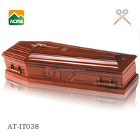 high quality plastic handle luxury sculpture coffins with cross