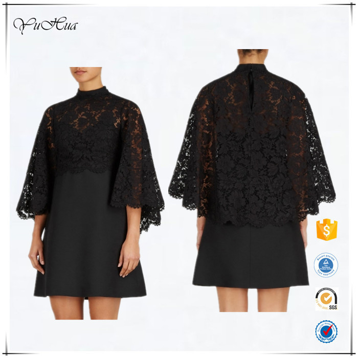 2016 famous design cape-back lace and wool blend mini dress