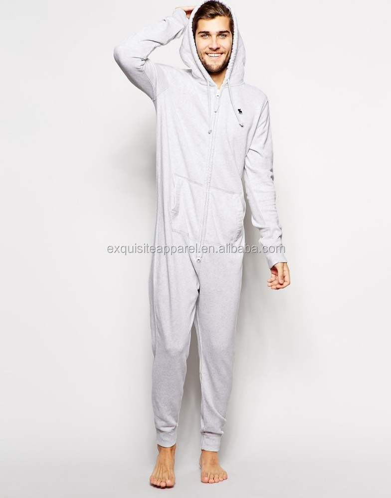 Mens 100% Cotton Fleece one piece zipper up Sherpa lining pajama jumpsuit