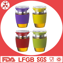 Newest 450ml silicone sleeve tea cup glass coffee cup with glass lid