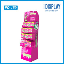 Custom 4 tiers Counter Display Pallet Sanitary Napkins Display Shelf Moving Corrugated Tissue Display Stand
