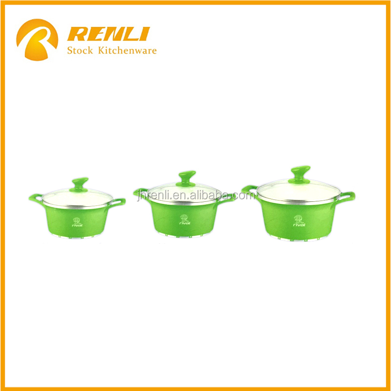 Oversstock lots,6pcs aluminum cookware casserole sets with ceramic coating/kitchen induction cooking items