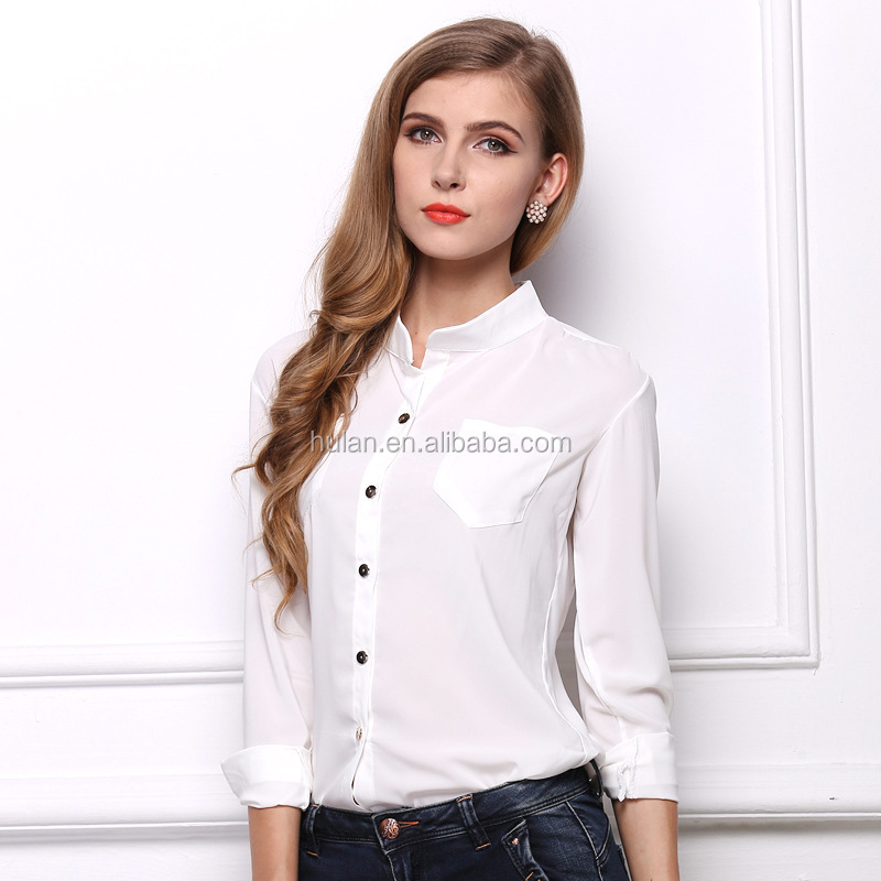 hot sale mandarin collar long sleeve plain color spring autumn women chiffon blouse