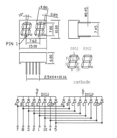 7 segment display pin diagram html