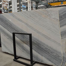 Polished grey glacier wood grain white marble