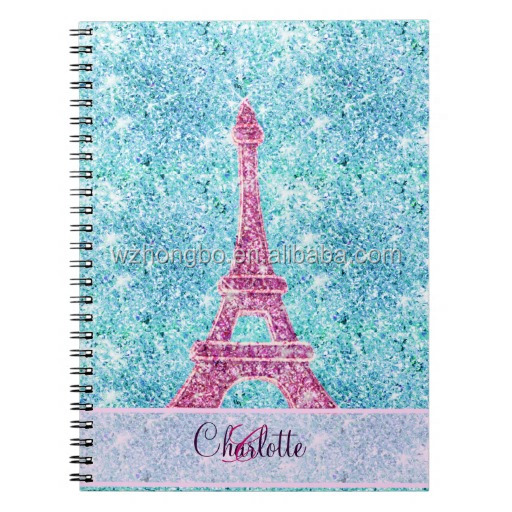 Eiffel Tower soft cover shiny spiral notebook