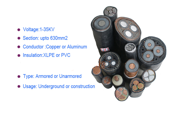 HV 12/20KV 66KV 110KV 35mm2 to 800mm2 XLPE Armoured 33kv cable