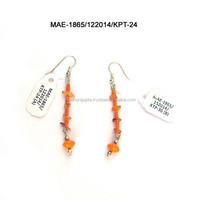 Orange Color Glass Bead And Seed Bead Earring