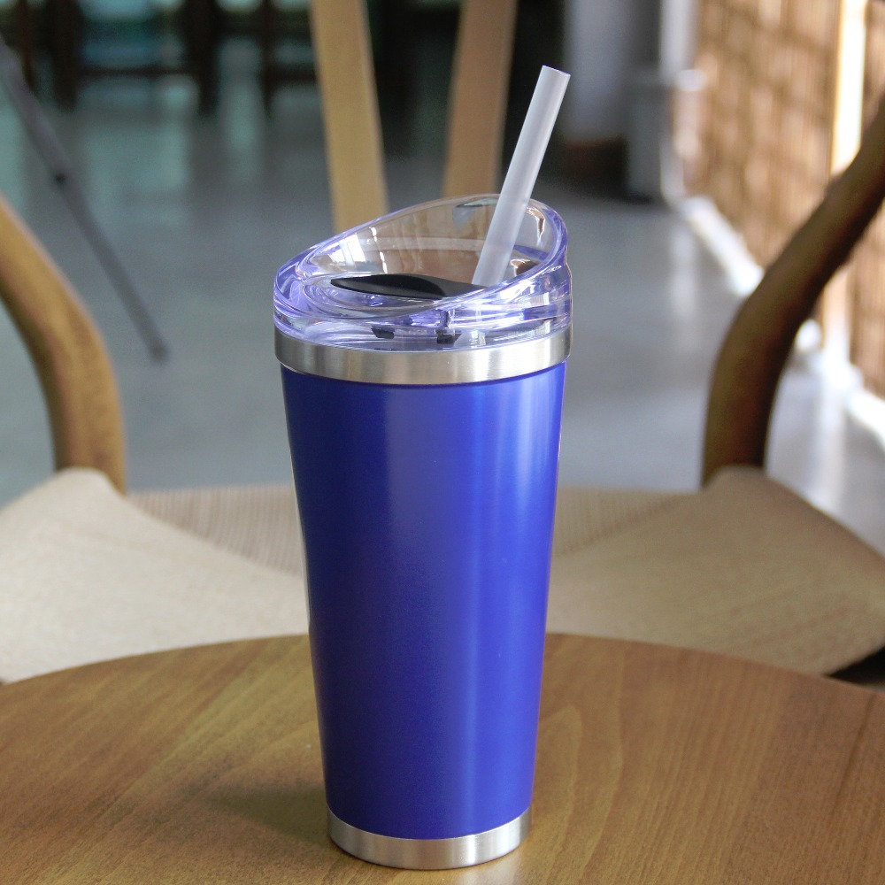 Double wall vacuum travel mug 16oz stainless steel tumbler with straw