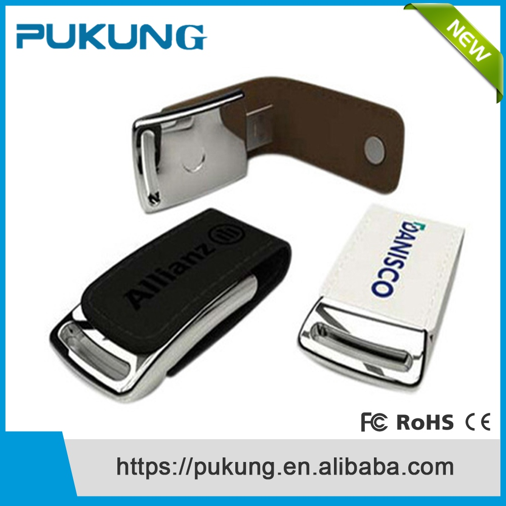2016 Hot Sale Customized LOGO Leather Usb Flash Drive 8gb