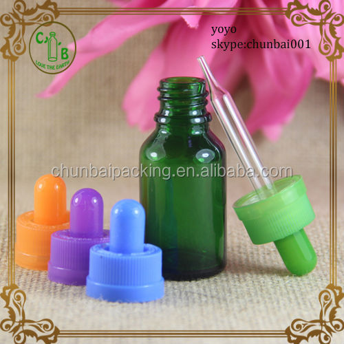Dark Green 15ml glass dropper bottles with childproof dropper colorful nipple with shrink wraps