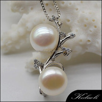 Lady fine real double pearl 925 china jewelry silver