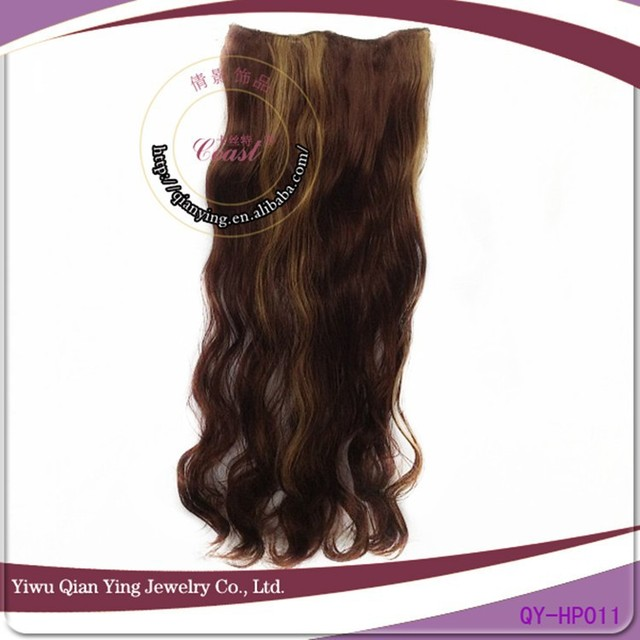 natural brown easy clips curly synthetic hair extensions