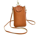 faux Leather neck wallet Phone Bag as Shoulder Bag with Handstrap for Cell Phone