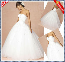 2012 Classic strapless applique beaded top ball gown white wedding dresses organza free shipping B-W002