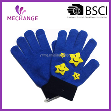 New arrive high quality star design knitted winter glove for kids