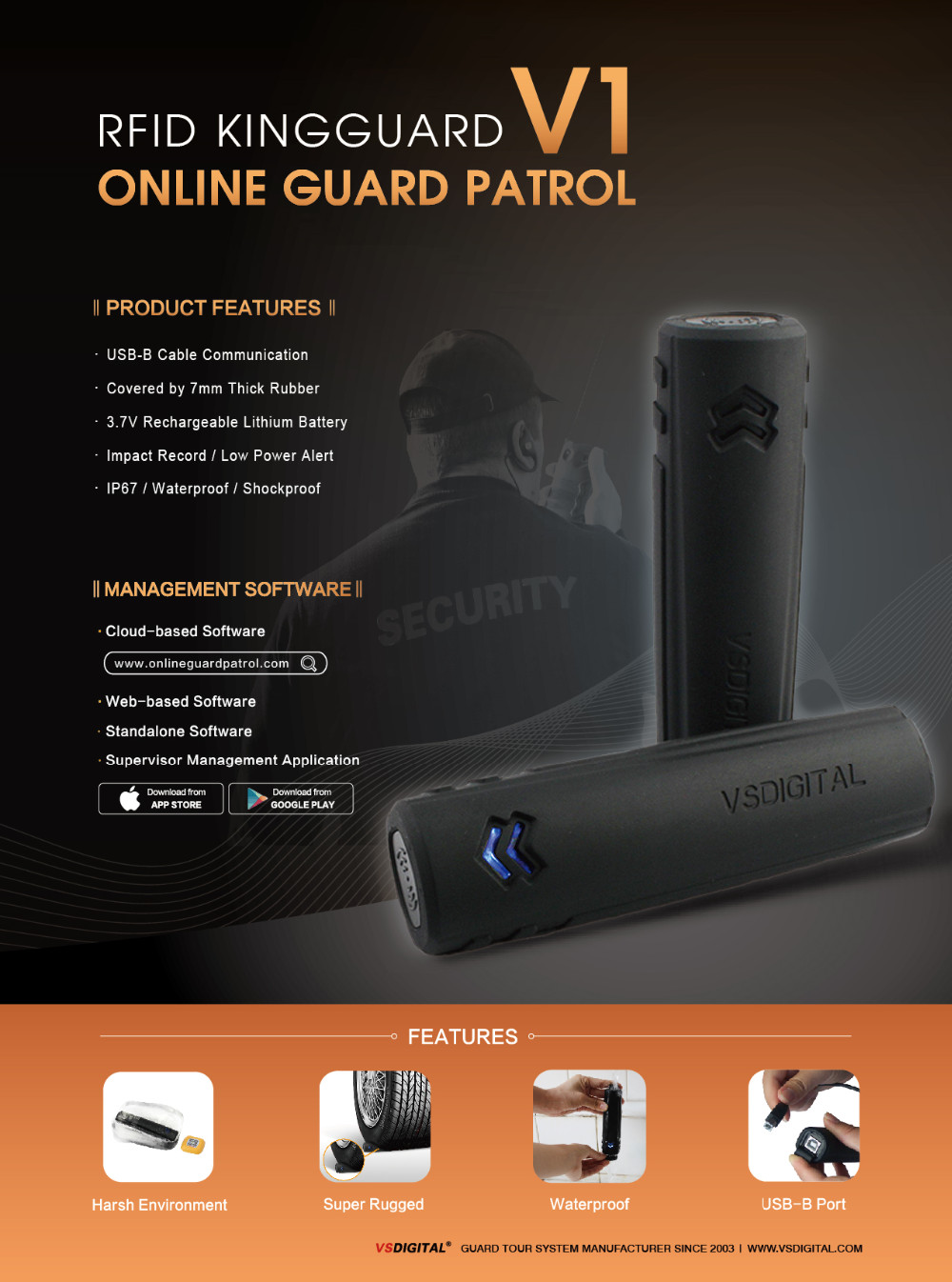 IP68 Guard Security Tour Patrol Equipment with Cloud based Software