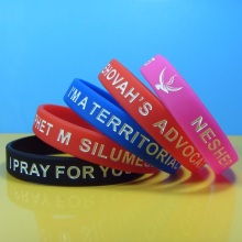 Debossed color filled silicon wristband, Debossed silicone bracelet, Custom logo rubber bracelet