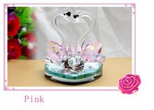Wedding gifts nice k9 Crystal glass double swan crafts for wedding