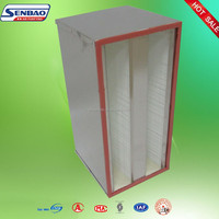 Aluminum Frame Fiberglass Mini pleated V Bank Air Filter Box