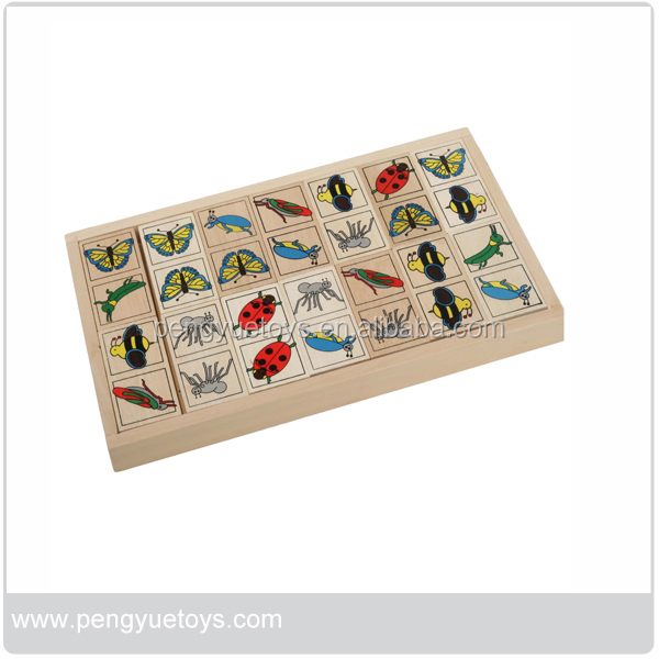 Insects Dominoes,Pre-school educational wooden toys,educational wooden toys wholesale
