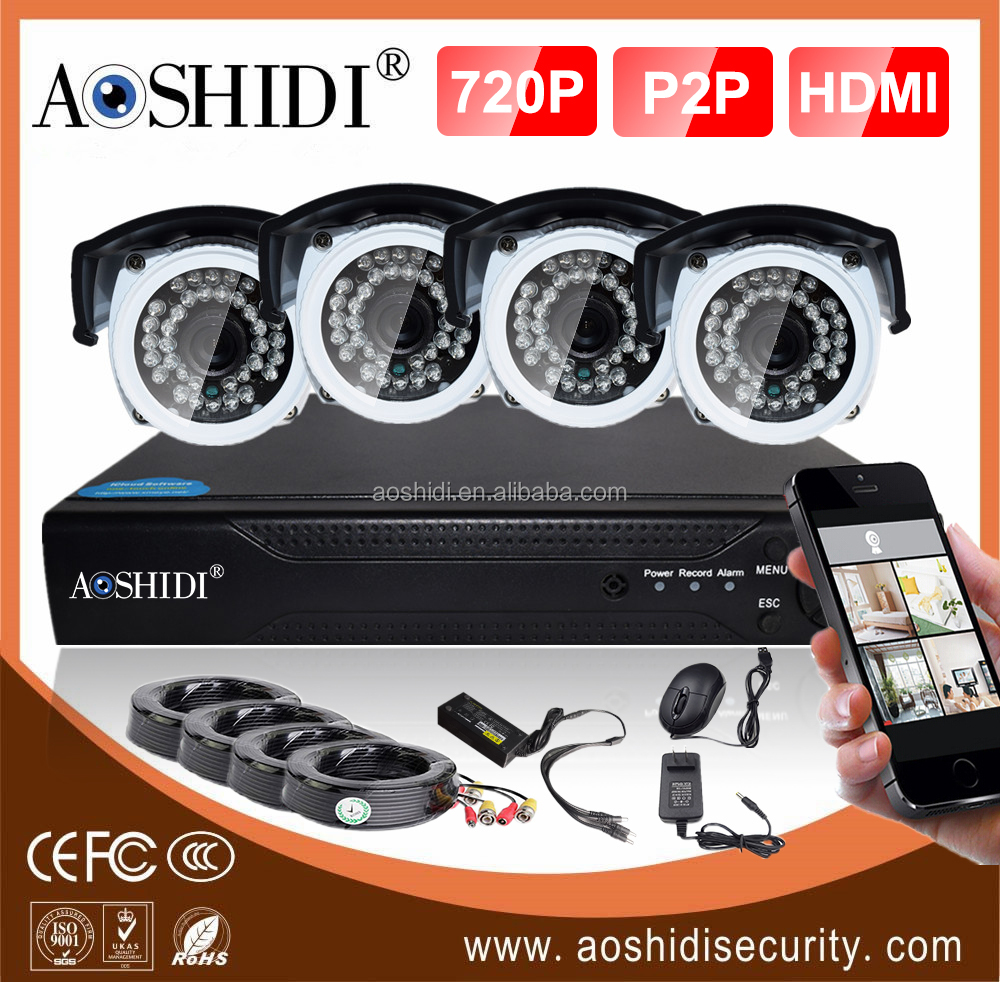 Economic 4ch dvr 720P AHD camera Kits , CCTV Camera System