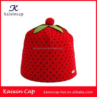 wholesale promotional OEM hot sale high quality wool design your embroidery logo funny strawberry cartoon characters beanie hat
