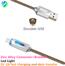 Wholesales high quality zinc alloy led light braided fast charging data cable for iphone 5 6 7 charger usb or micro usb